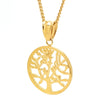 Gold Tree of Life Pendant Charm and Necklace