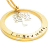 Hand Stamped Gold Names Necklace with sterling Tree of Life