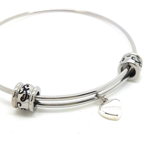 Large Silver Bangle with Heart Charm