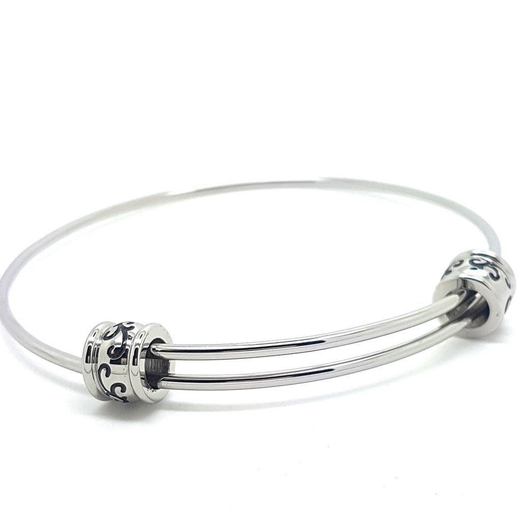 Coorabell Crafts Large Silver Filigree Bead Bangle