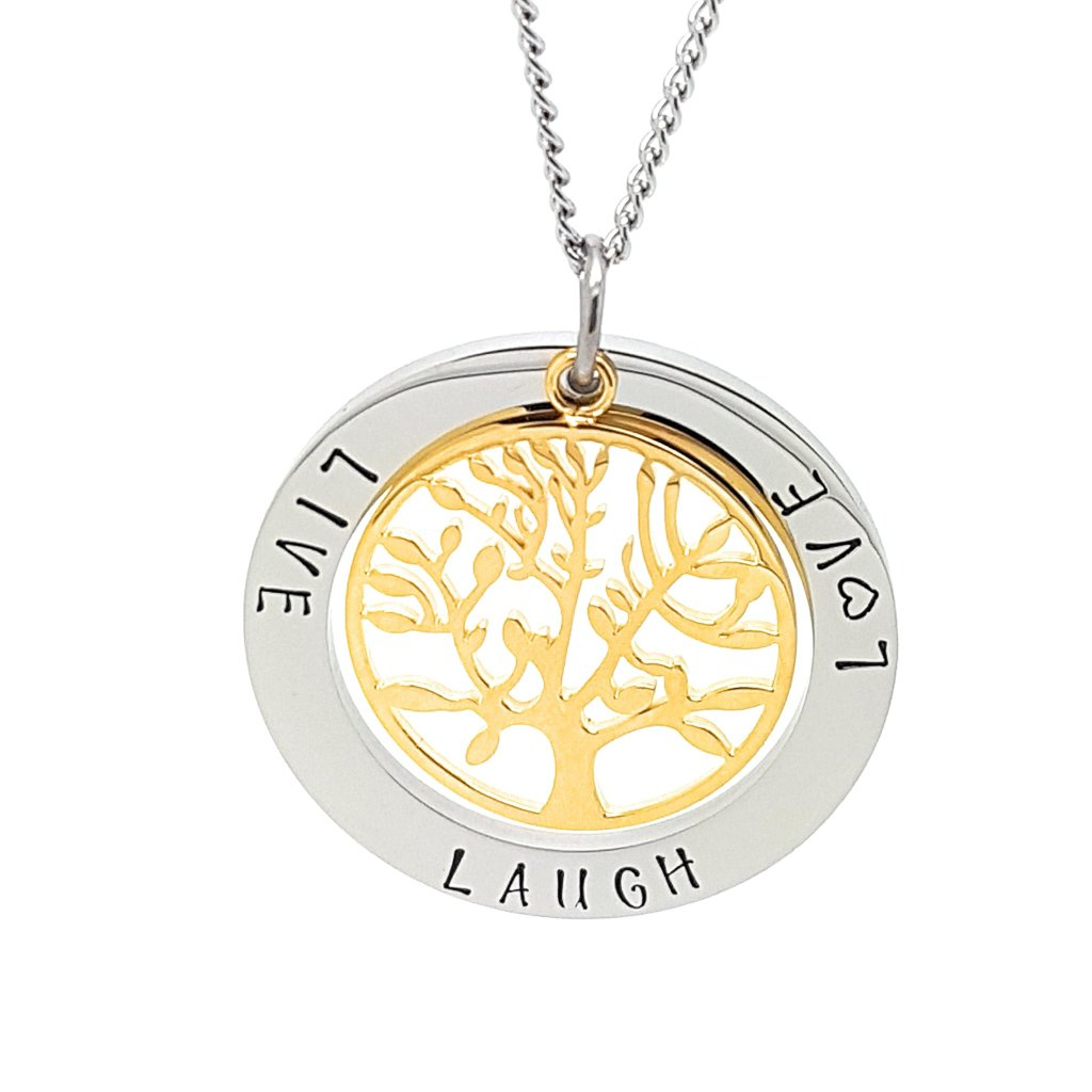Coorabell Crafts Live Laugh Love Pendant Gold Tree