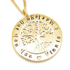 Personalised Gold Circle Pendant with Sterling Tree of Life Charm