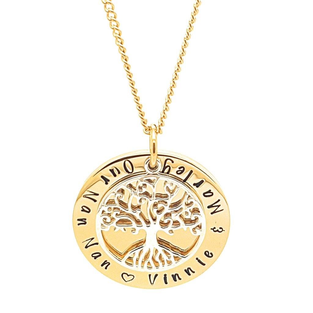 Coorabell Crafts Personalised Gold Circle Pendant with Sterling Tree of Life Charm
