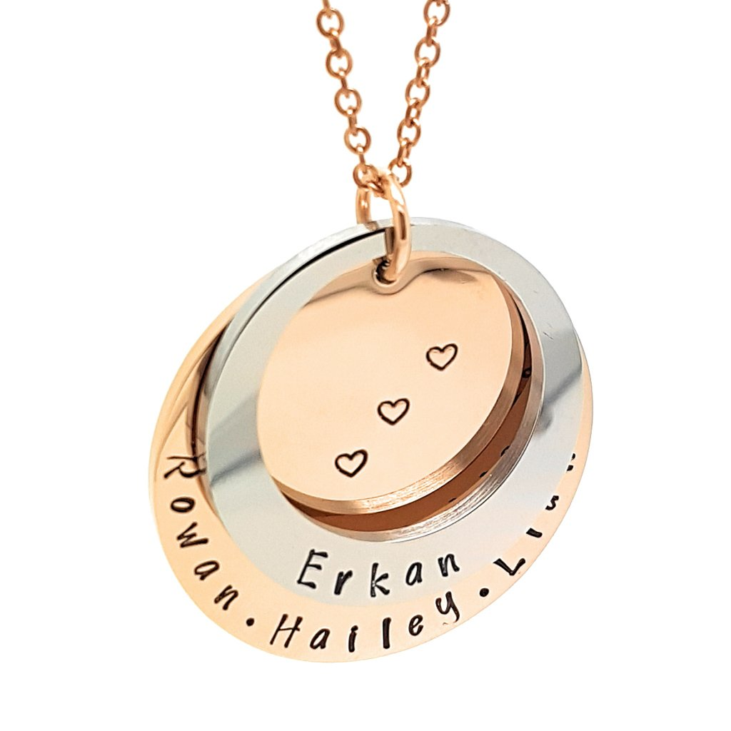 Coorabell Crafts Personalised Pendant Two ring Necklace