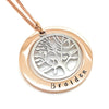 Rose Gold and Silver Family Tree of Life Necklace Personalised
