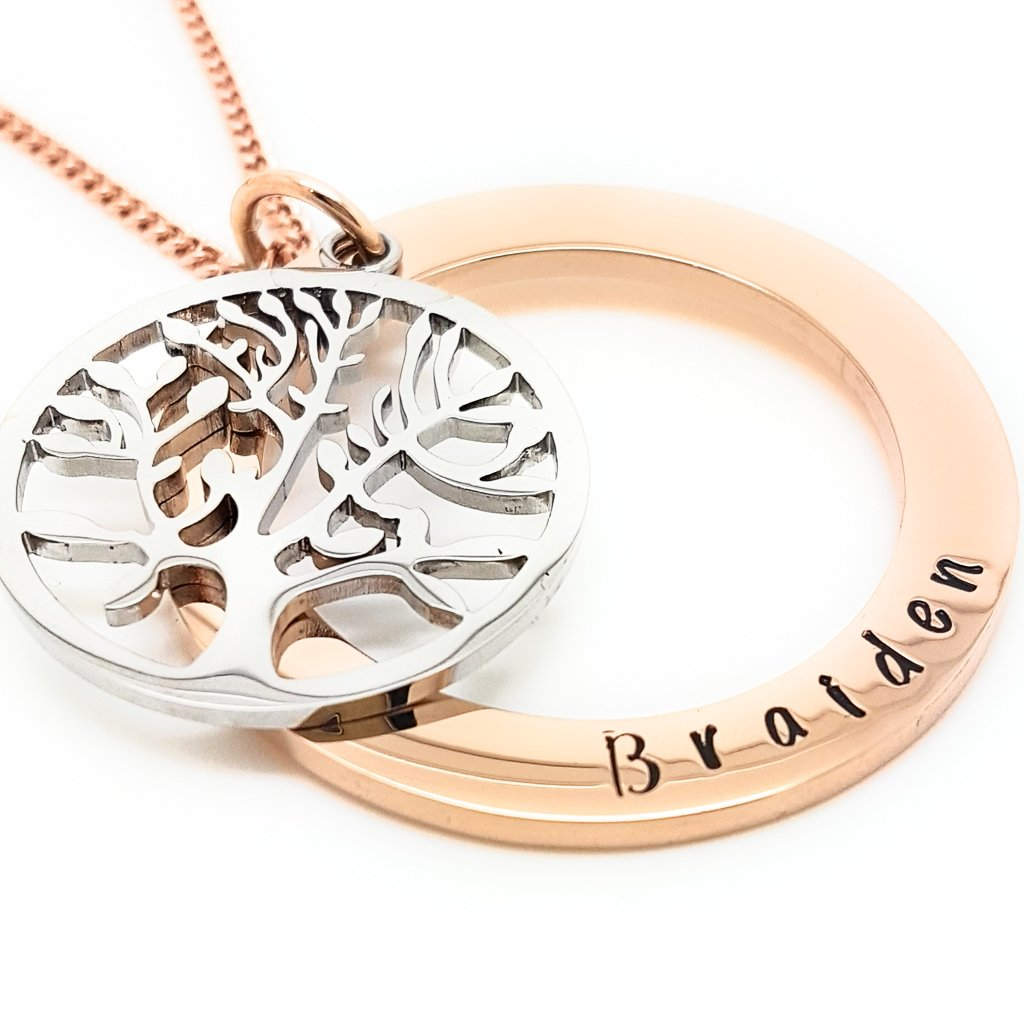 Coorabell Crafts Rose Gold and Silver Family Tree of Life Necklace Personalised