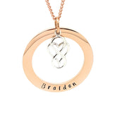 Rose Gold Circle Pendant with Sterling Silver Love Heart Infinity Charm