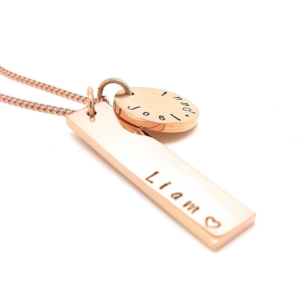 Coorabell Crafts Rose Gold Disk and Verticle Bar Necklace