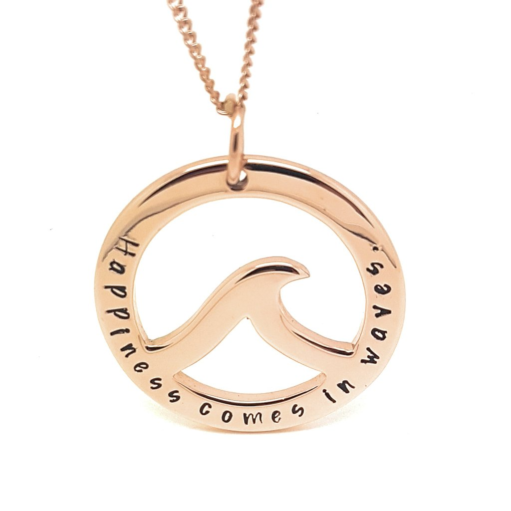 Coorabell Crafts Rose Gold Ocean Wave Pendant
