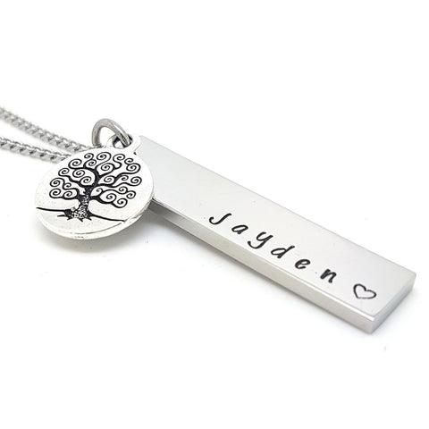 Silver Tree Charm Bar Necklace