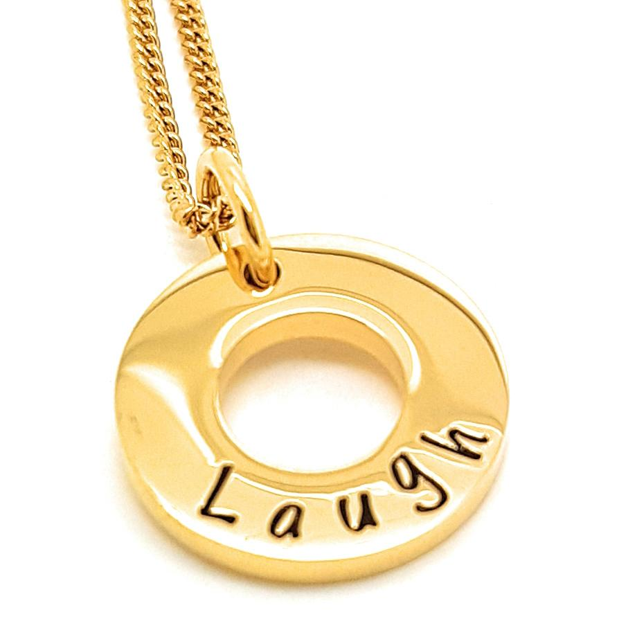 Coorabell Crafts Small Gold Circle Personalised Necklace
