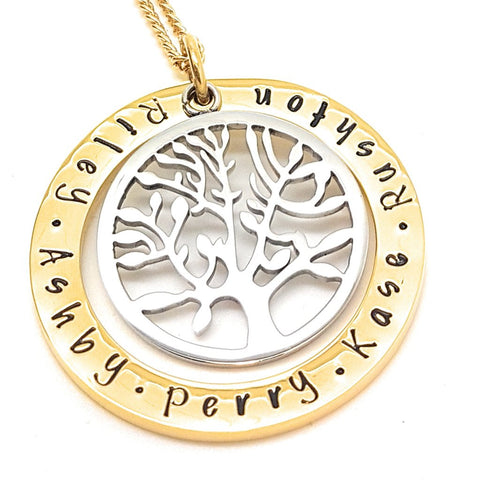 Two-tone Gold Circle with Large Tree Charm