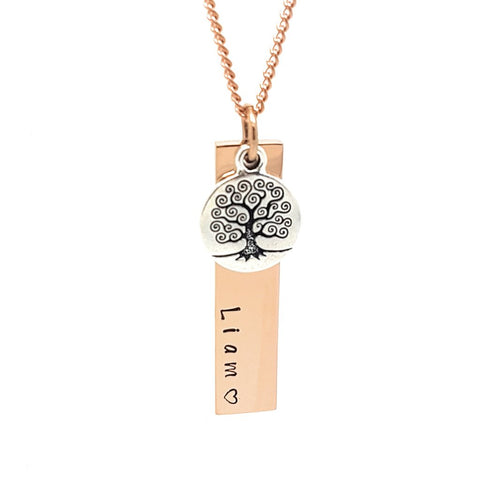 Verticle Bar Pendant with Tree Charm