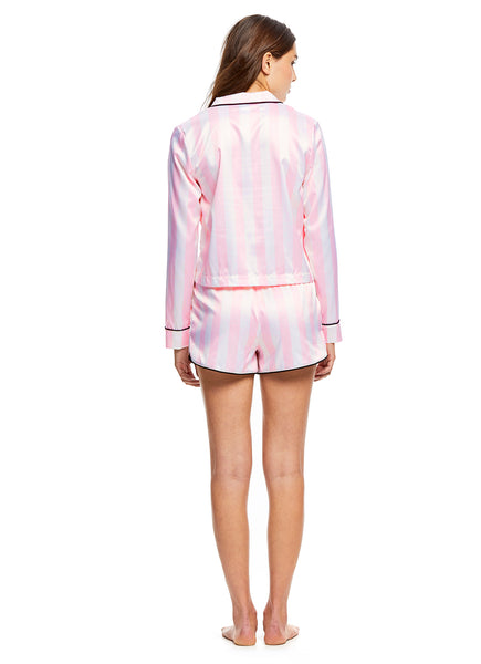 Sleep Riot Women's 2-Piece Satin Pajama Set | Pink Top & Shorts