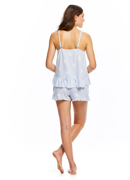 Sleep Riot Women's 2-Piece Ruffle Pajama Set | Blue Top & Shorts