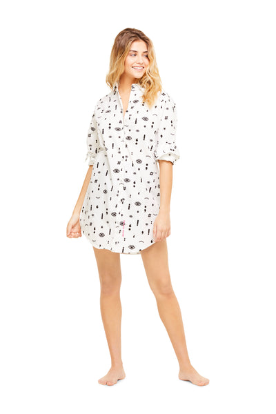 Boyfriend Sleep Shirt | Women Long Sleeve Dress / Button Down Tunic