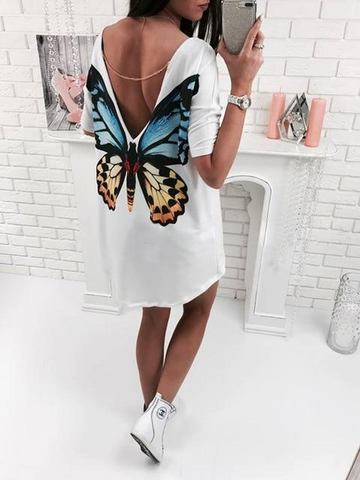 Casual V-Neck Butterfly Shirt Mini Dress