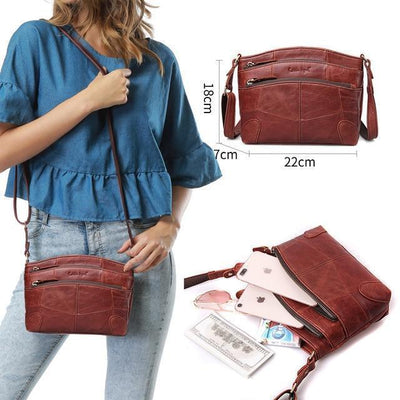 Outlet Appeal 0910006-A-4 / China Cobbler Legend Multi Pockets Vintage Genuine Leather Bag Female Small Women Handbags Bags For Women 2018 Shoulder Crossbody Bag