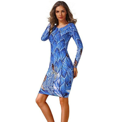 Outlet Appeal 1 / S CYAN Winter Autumn Dress Women 2018 Casual Plus Size Long Sleeve Print Bodycon Dress Female Sexy Slim Club Evening Party Dresses