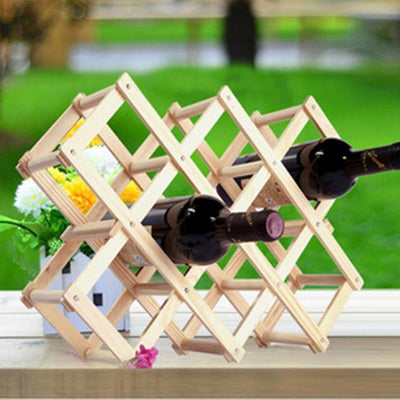 Outlet Appeal 10 Bottles A Solid Wood Folding Wine Rack Wine Stand Wooden Bottle Holder Creative gift series