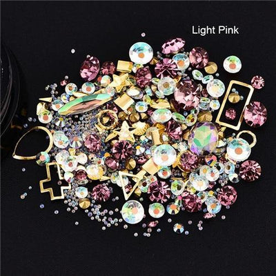 Outlet Appeal 12 Mixed Colorful Acrylic Rhinestones in Alloy Metal Frame DIY Nail Decor Manicure 3D Nail Art