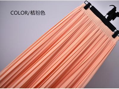Outlet Appeal 12 / S 22 Colors Super Pleated Chiffon Elastic Waistband Mid-Calf to Ankle-Length Skirt