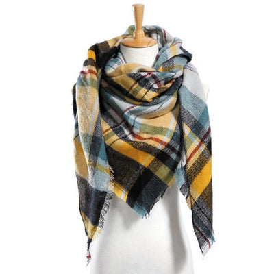 Outlet Appeal 12 Winter Scarf Women Plaid Scarf Designer Triangle Cashmere Shawls Women's Scarves Dropshipping VS051