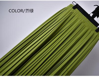 Outlet Appeal 17 / S 22 Colors Super Pleated Chiffon Elastic Waistband Mid-Calf to Ankle-Length Skirt