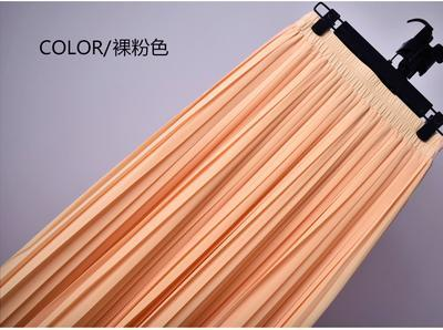 Outlet Appeal 18 / S 22 Colors Super Pleated Chiffon Elastic Waistband Mid-Calf to Ankle-Length Skirt