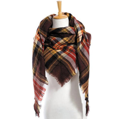Outlet Appeal 19 Winter Scarf Women Plaid Scarf Designer Triangle Cashmere Shawls Women's Scarves Dropshipping VS051
