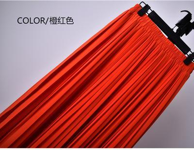 Outlet Appeal 2 / S 22 Colors Super Pleated Chiffon Elastic Waistband Mid-Calf to Ankle-Length Skirt