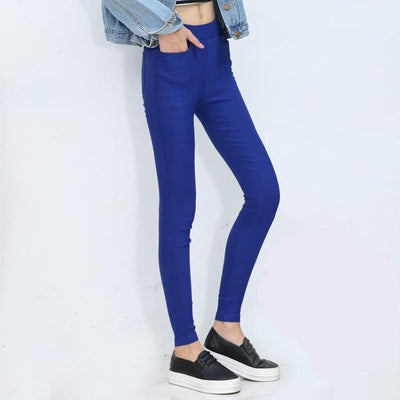 Outlet Appeal 2 / S Women Pencil Pants Casual Elastic Waist Skinny Trousers Black White Stretch Pants