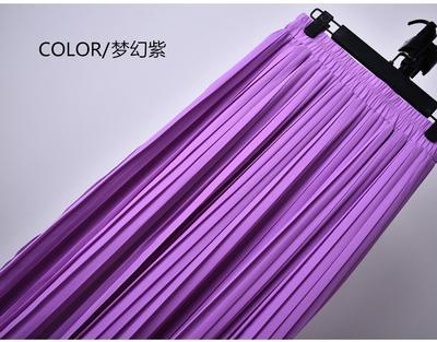 Outlet Appeal 22 Colors Super Pleated Chiffon Elastic Waistband Mid-Calf to Ankle-Length Skirt