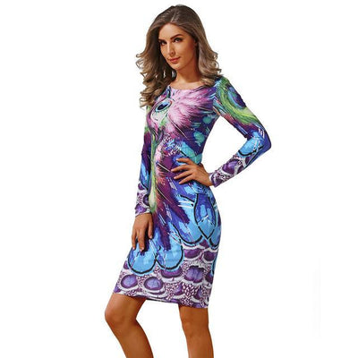 Outlet Appeal 27 / L CYAN Winter Autumn Dress Women 2018 Casual Plus Size Long Sleeve Print Bodycon Dress Female Sexy Slim Club Evening Party Dresses