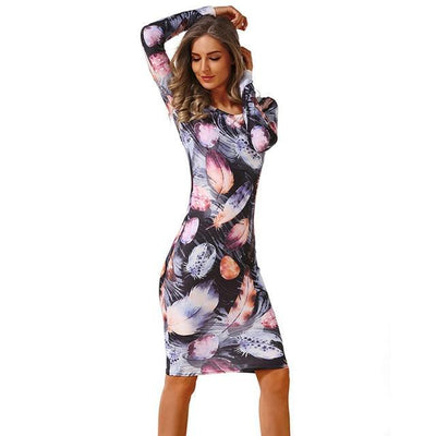 Outlet Appeal 28 / L CYAN Winter Autumn Dress Women 2018 Casual Plus Size Long Sleeve Print Bodycon Dress Female Sexy Slim Club Evening Party Dresses