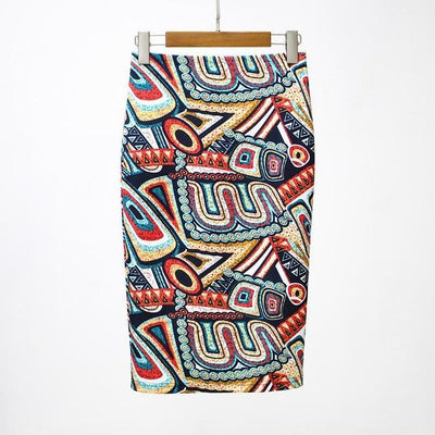 Outlet Appeal 29 / S 27 Patterns Vintage Elegant Floral Print High Waist Midi Pencil Skirt