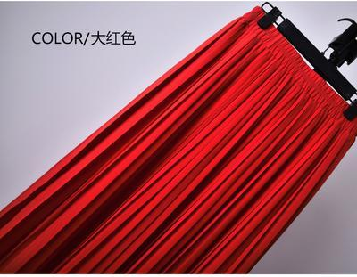 Outlet Appeal 4 / S 22 Colors Super Pleated Chiffon Elastic Waistband Mid-Calf to Ankle-Length Skirt