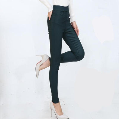 Outlet Appeal 4 / S Women Pencil Pants Casual Elastic Waist Skinny Trousers Black White Stretch Pants