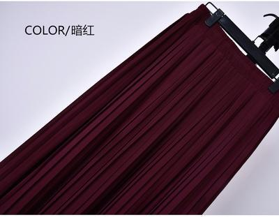 Outlet Appeal 5 / S 22 Colors Super Pleated Chiffon Elastic Waistband Mid-Calf to Ankle-Length Skirt
