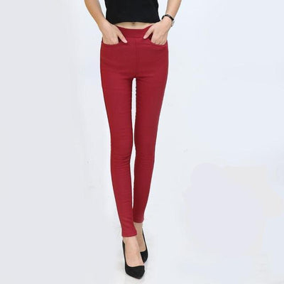 Outlet Appeal 5 / S Women Pencil Pants Casual Elastic Waist Skinny Trousers Black White Stretch Pants