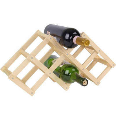 Outlet Appeal 6 Bottles A Solid Wood Folding Wine Rack Wine Stand Wooden Bottle Holder Creative gift series