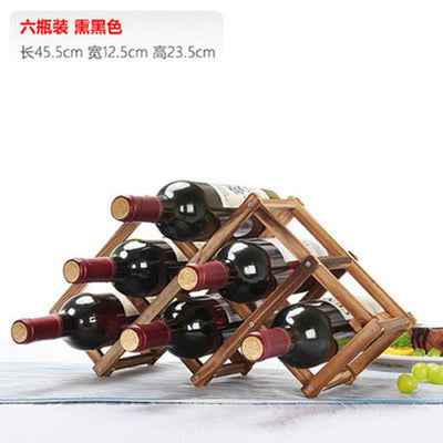 Outlet Appeal 6 Bottles B Solid Wood Folding Wine Rack Wine Stand Wooden Bottle Holder Creative gift series