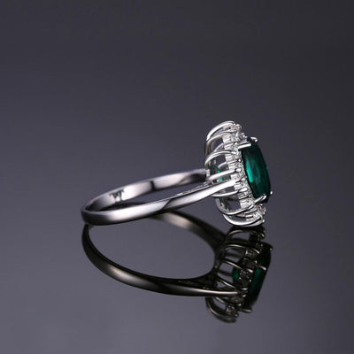 Created 2.5ct Emerald Solid 925 Sterling Silver Ring