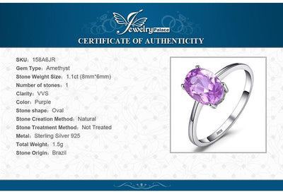 Oval 1.1ct Natural Purple Amethyst Solid 925 Sterling Silver Solitaire Ring