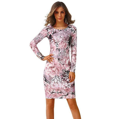 Outlet Appeal 7 / S CYAN Winter Autumn Dress Women 2018 Casual Plus Size Long Sleeve Print Bodycon Dress Female Sexy Slim Club Evening Party Dresses