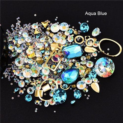 Outlet Appeal 8 Mixed Colorful Acrylic Rhinestones in Alloy Metal Frame DIY Nail Decor Manicure 3D Nail Art