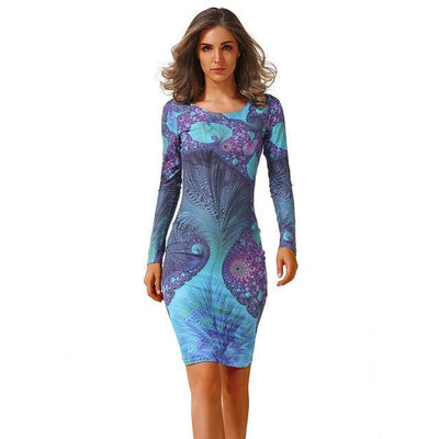 Outlet Appeal 8 / S CYAN Winter Autumn Dress Women 2018 Casual Plus Size Long Sleeve Print Bodycon Dress Female Sexy Slim Club Evening Party Dresses