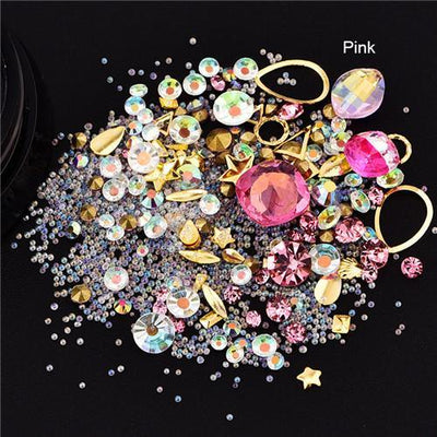 Outlet Appeal 9 Mixed Colorful Acrylic Rhinestones in Alloy Metal Frame DIY Nail Decor Manicure 3D Nail Art