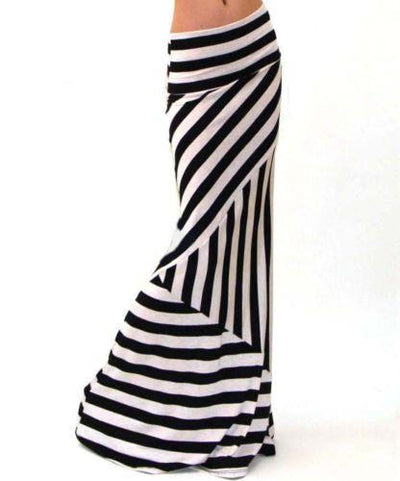 Outlet Appeal 916 / M Fashion High Waist Maxi Skirts Womens saia Summer New 2018 Casual black white strip Lady High elasticity Long Skirt women XXXL