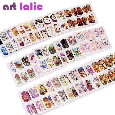 Outlet Appeal Animal Feather Water Transfer Nail Art Stickers DIY  - 50 Sheets Mixed Designs